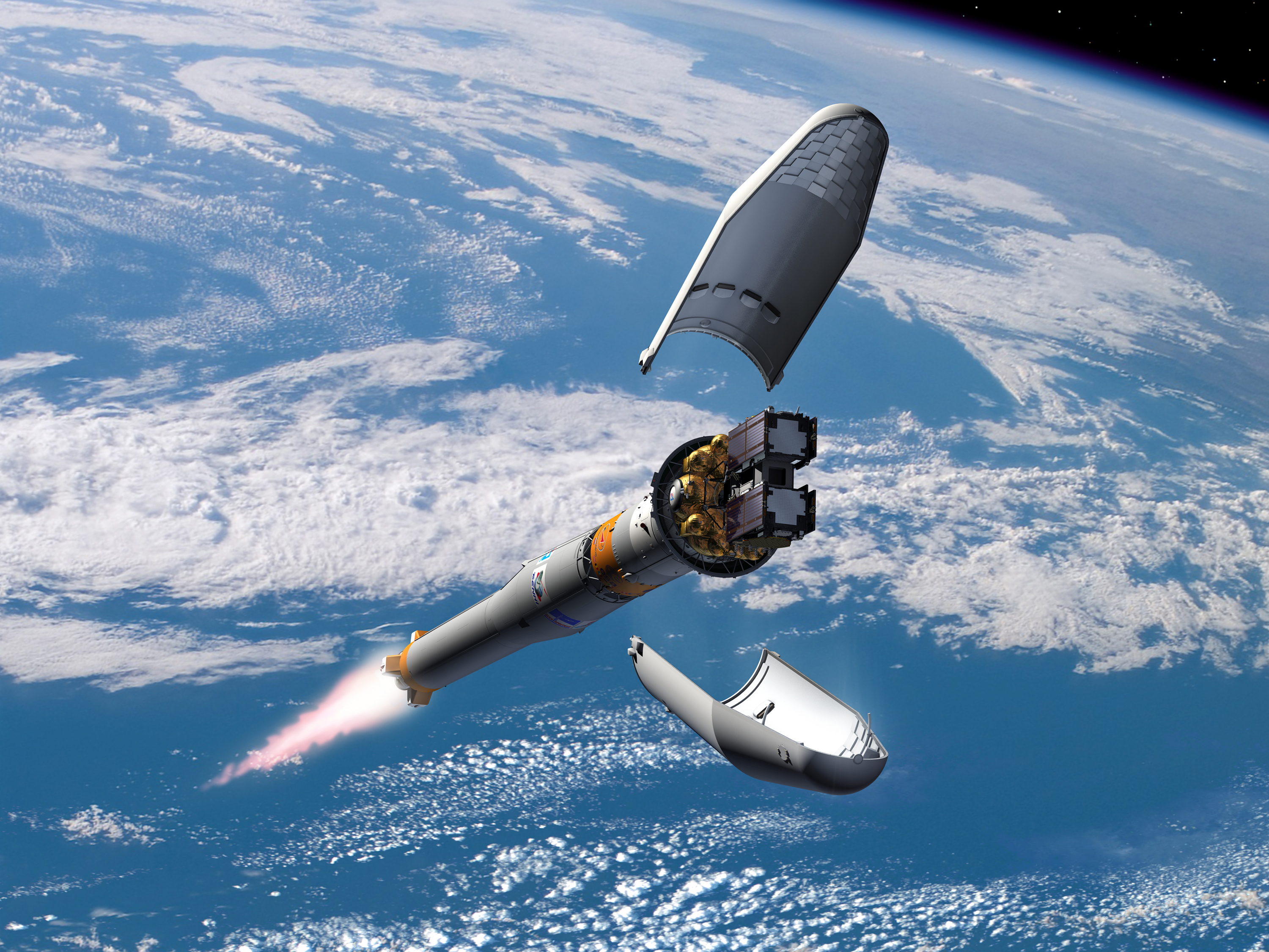 The two Galileo IOV satellites were protected during their launch by a launch fairing, which was ejected once Soyuz had  passed most of the way through the Earth's atmosphere
