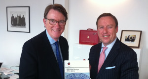 European Chamber Vice President Jens Ruebbert (right) meets with Lord  Mandelson in London and presents the Position Paper