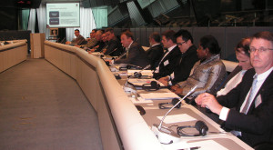 European Chamber Vice President Jens Ruebbert (centre) presents at the European Commission