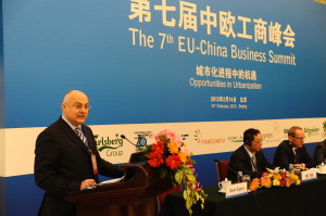Bagnasco speaking at the 7th EU-China Summit