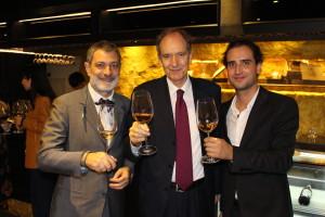 Enjoying a drink with Italian Ambassador to  China Alberto Bradanini (centre)