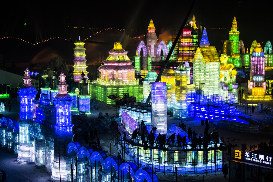 Ice Buildings at the Harbin Ice and Snow Festival